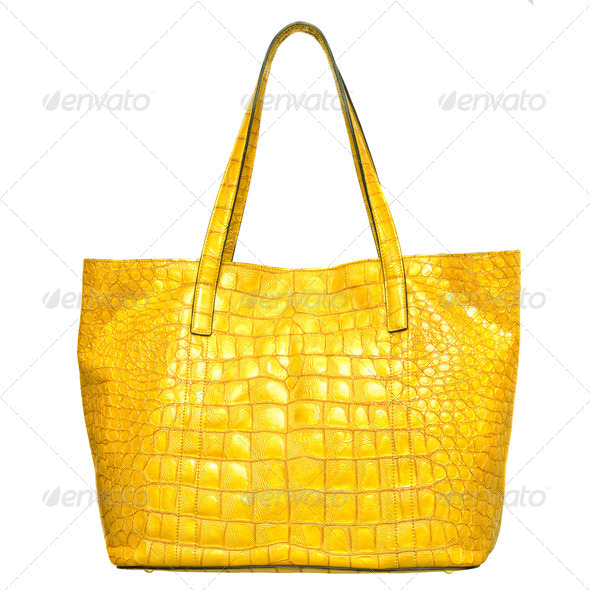 luxury yellow leather female bag isolated on white - Stock Photo - Images