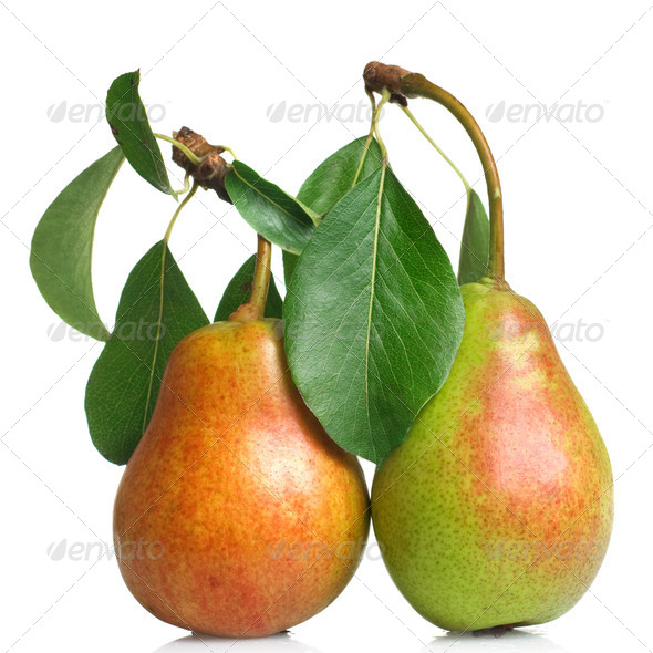 pears with leaves isolated on white - Stock Photo - Images
