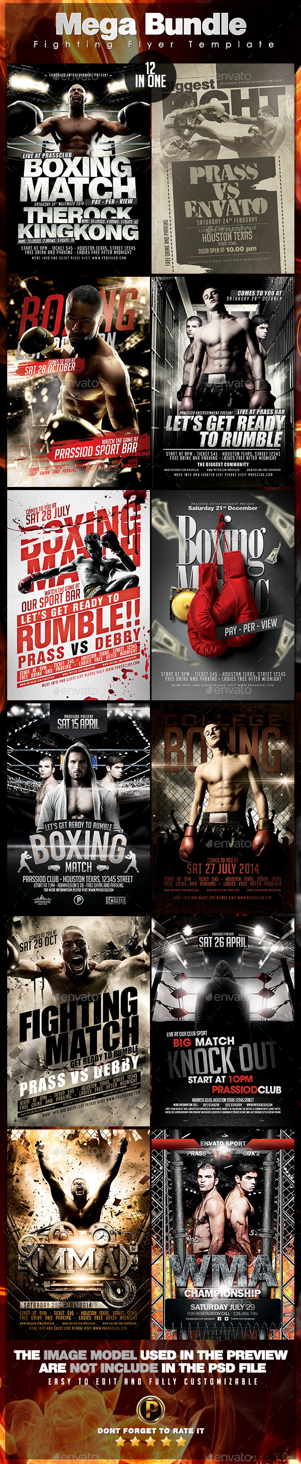 Mega Bundle 12 In 1 Fighting Flyer Template - Sports Events