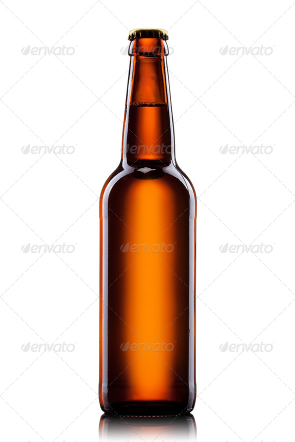 Beer bottle isolated on white background - Stock Photo - Images