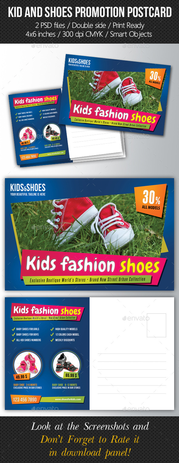 Kid And Shoes Postcard Template - Cards & Invites Print Templates