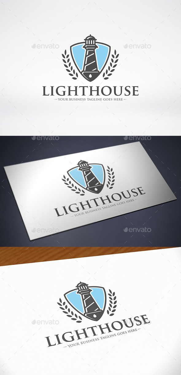 Lighthouse Shield Logo Template - Buildings Logo Templates