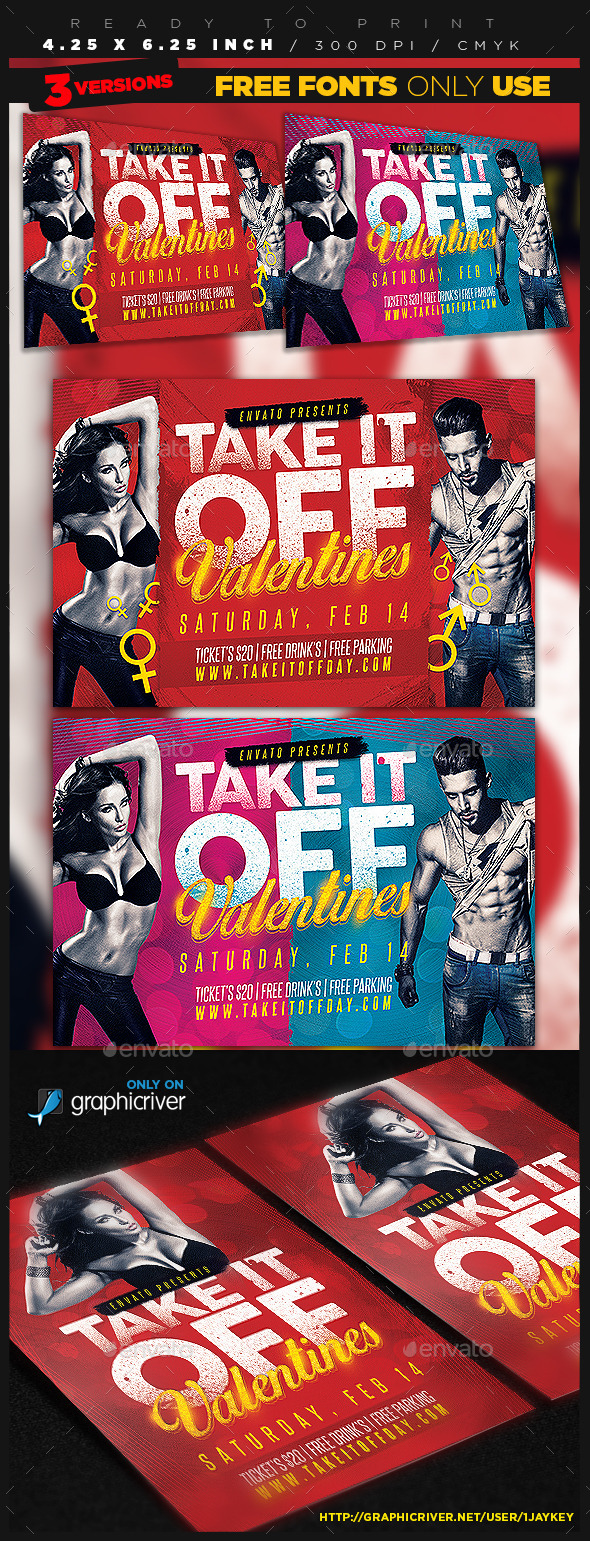 Take It Off Valentines Flyer - Clubs & Parties Events