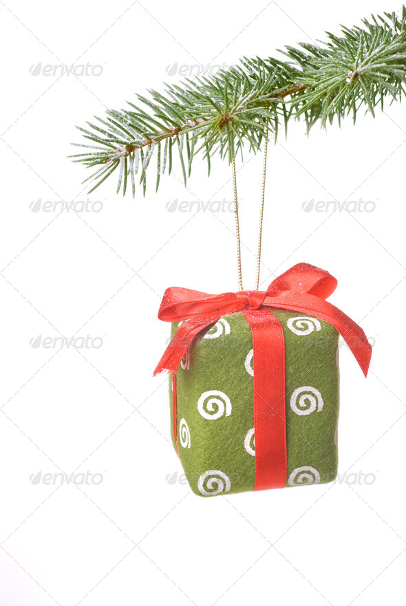 Christmas gift on fir tree branch with snow isolated on white - Stock Photo - Images