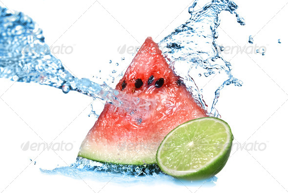 watermelon with lime and water splash isolated on white - Stock Photo - Images