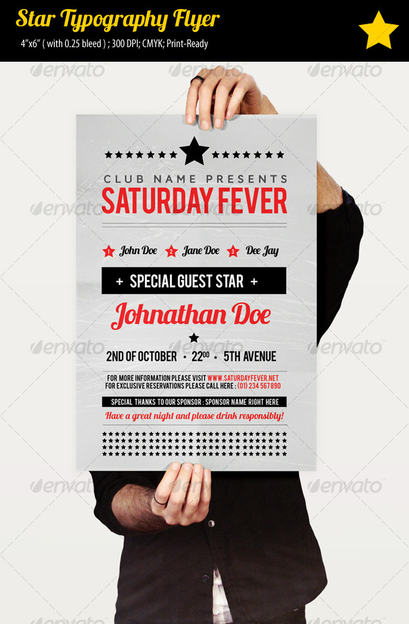 Star Typography Party Flyer By Ibib  Graphicriver
