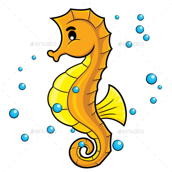 Sea Horse Cartoon - Animals Characters