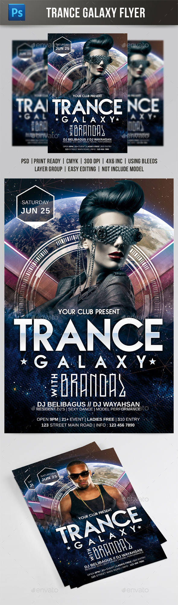Trance Galaxy Flyer - Events Flyers