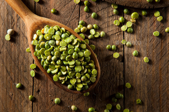 Raw Organic Green Split Peas - Stock Photo - Images