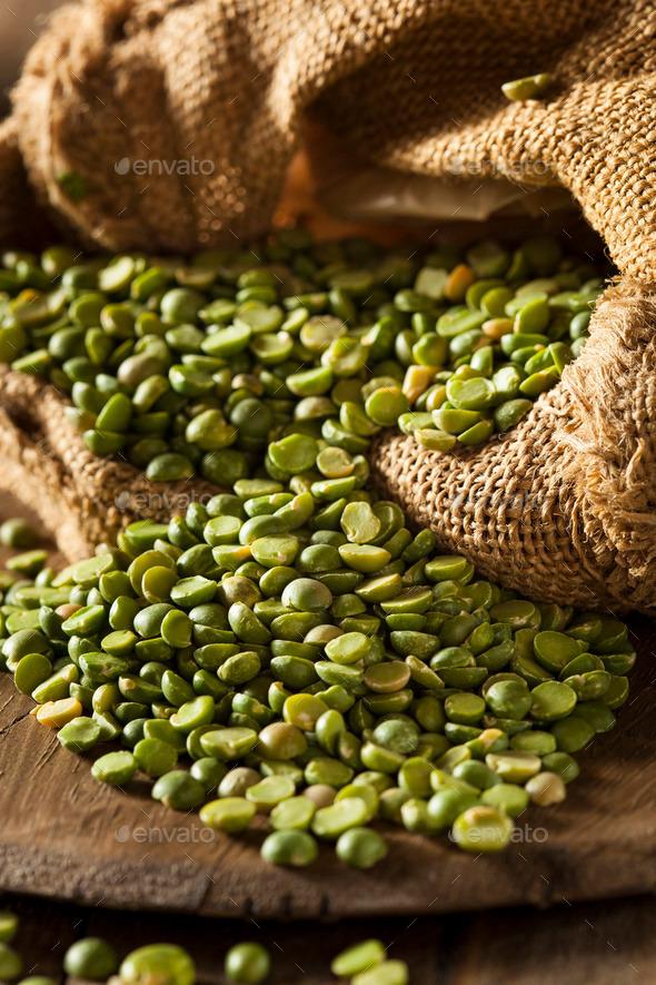 Raw Organic Green Split Peas - Stock Photo - Images