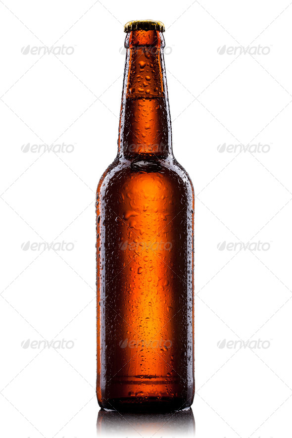 Beer bottle with water drops isolated on white - Stock Photo - Images