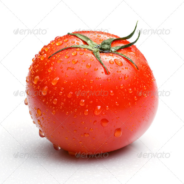 red tomato with water drops isolated on white - Stock Photo - Images