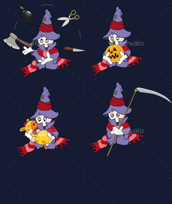 Set of Ghosts Cartoons  - Halloween Seasons/Holidays