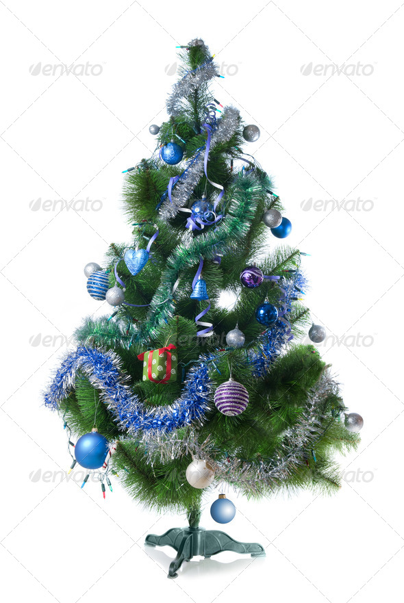 Decorated christmas fir tree isolated on white - Stock Photo - Images