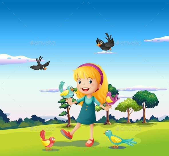 Girl Surrounded by Birds on a Hill - People Characters