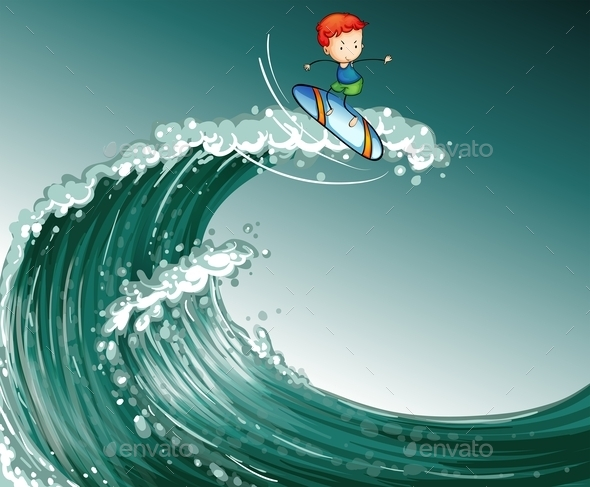 Boy Surfing with Big Waves - People Characters