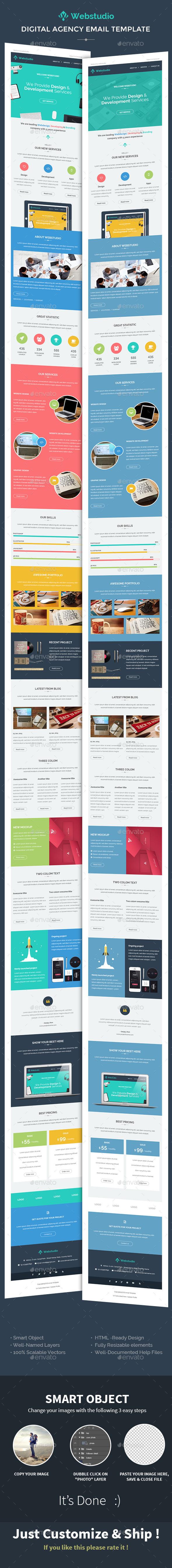 WebStudio/Digital Agency E-newsletter PSD Template - E-newsletters Web Elements
