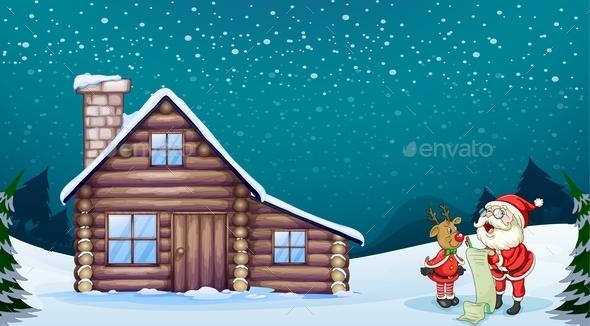 Santa Claus and a Reindeer - Christmas Seasons/Holidays