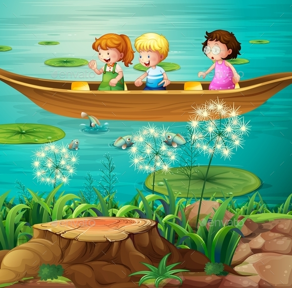 Children Rowing Boat in Pond - People Characters