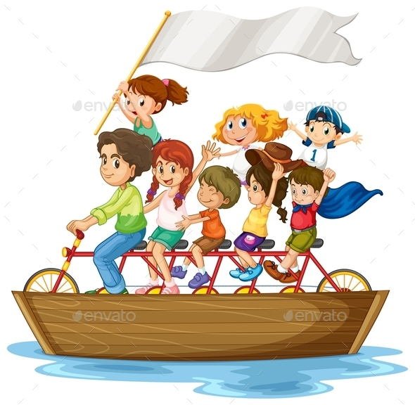 Children on Boat - People Characters