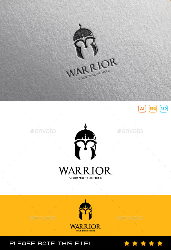 Warrior Helmet Logo - Vector Abstract