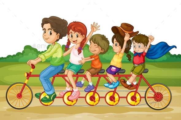 Family on Tandem Bike - Sports/Activity Conceptual