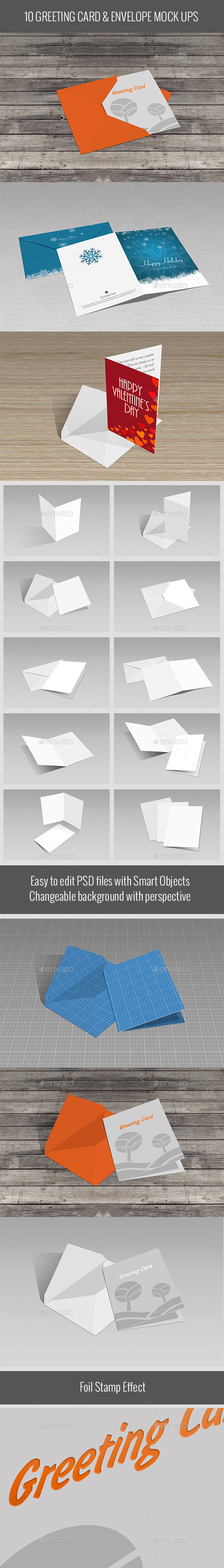Greeting Card & Envelope Mock Ups - Miscellaneous Print