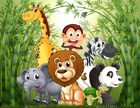 Bamboo Forest with Many Animals - Animals Characters