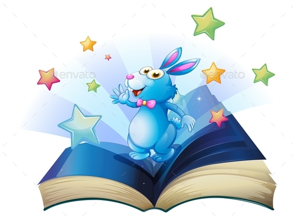 Book with a Bunny Surrounded with Stars - Animals Characters