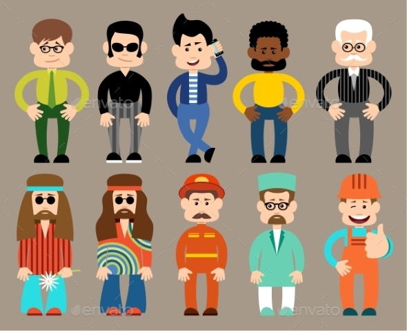 Set of Flat Men in Different Professions  - People Characters