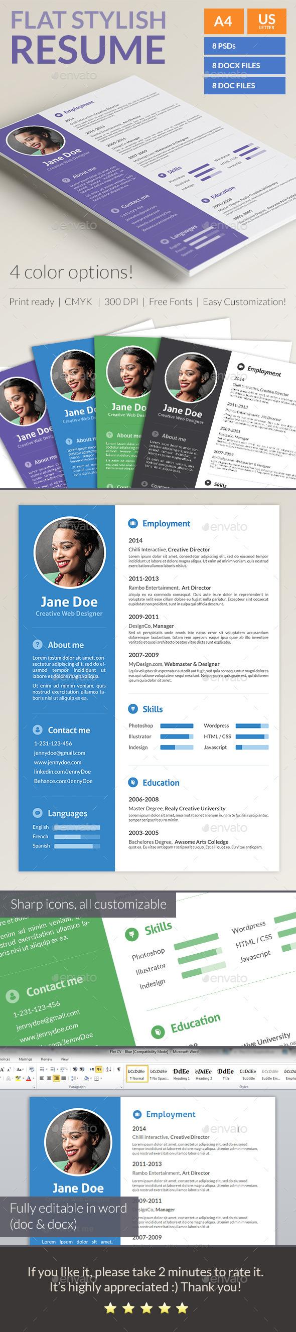 Stylish Flat Resume - Resumes Stationery