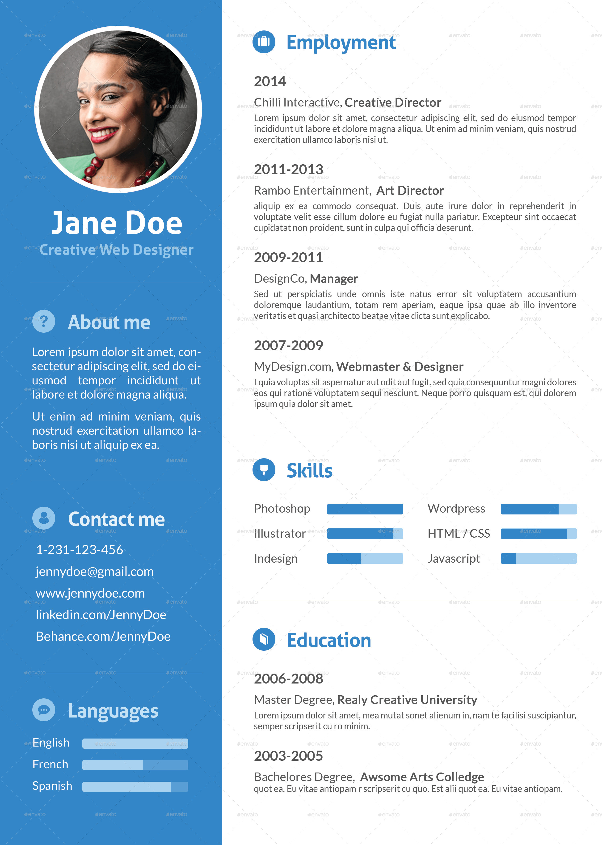 stylish flat resume by ofrika