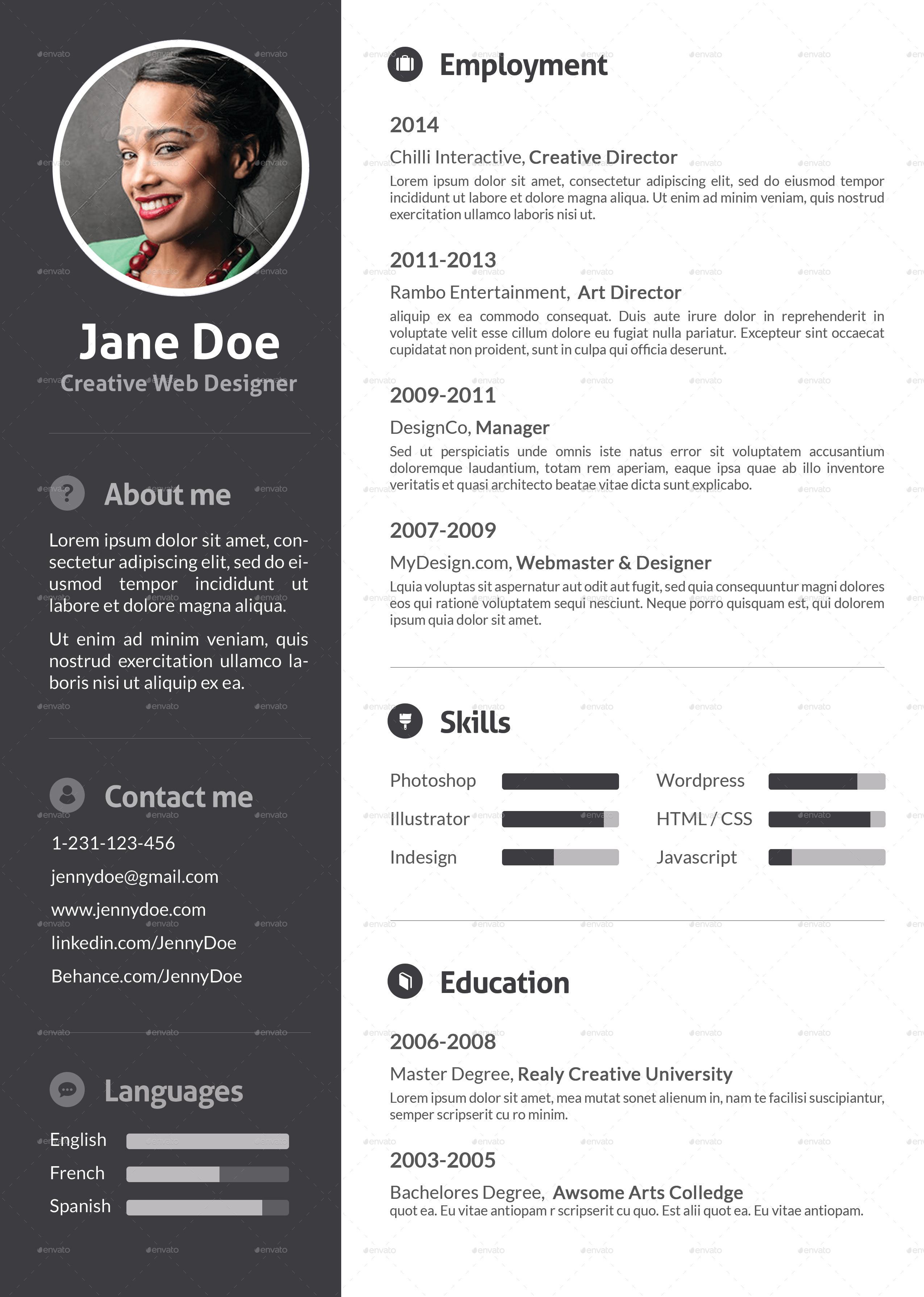 stylish flat resume by ofrika graphicriver