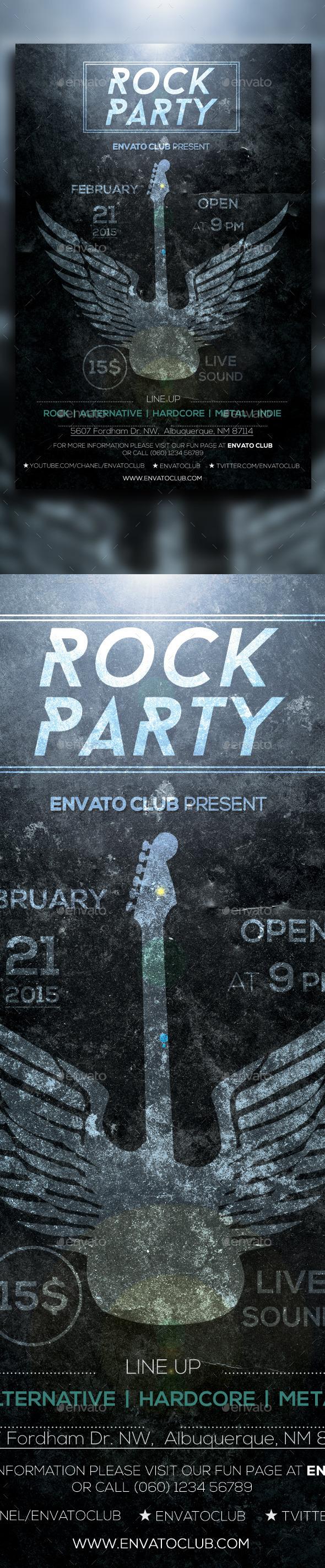 Rock Party Dark Flyer - Clubs & Parties Events