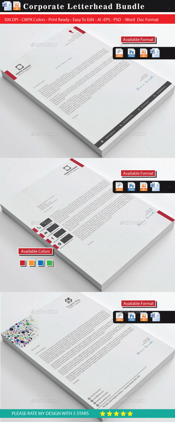 Corporate Letterheads Bundle - Stationery Print Templates