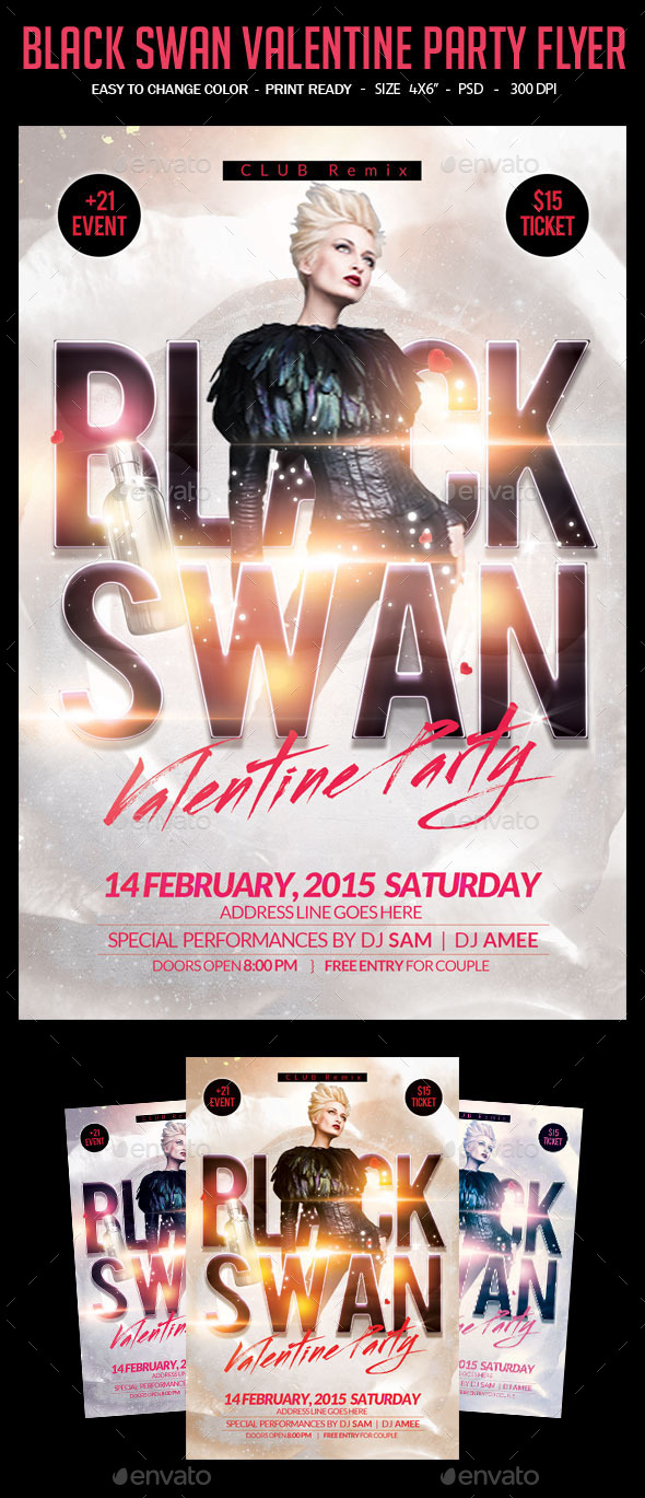 Black Swan Valentine Party Flyer - Clubs & Parties Events