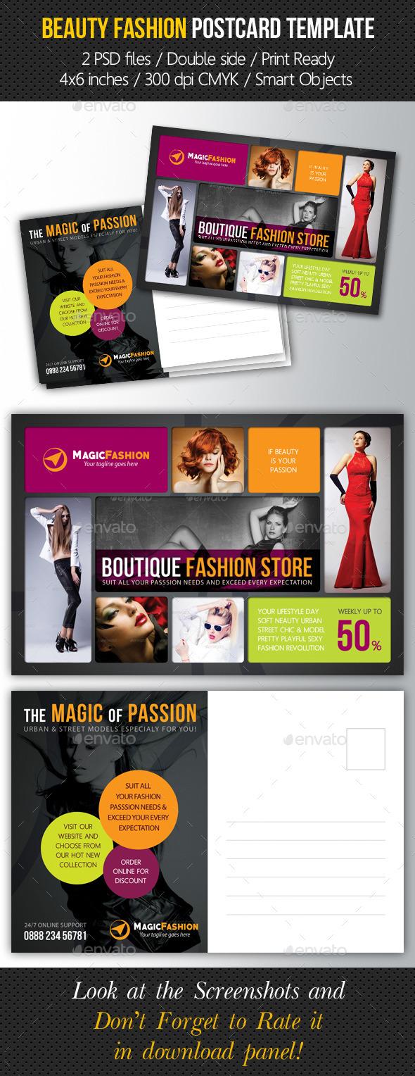 Beauty Fashion Postcard V01 - Cards & Invites Print Templates