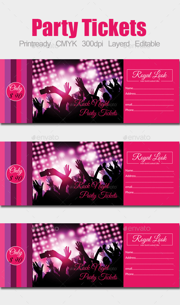 Concert Pass / Party Ticket - Holiday Greeting Cards