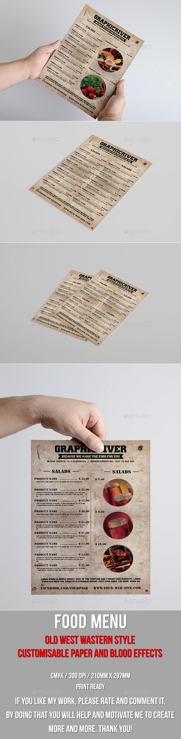 Multipurpose old west style food menu - Food Menus Print Templates