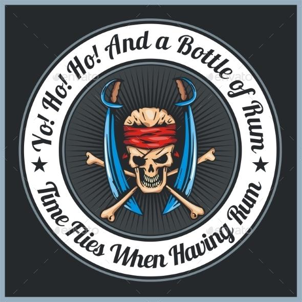 Pirate Themed Emblem - Backgrounds Decorative