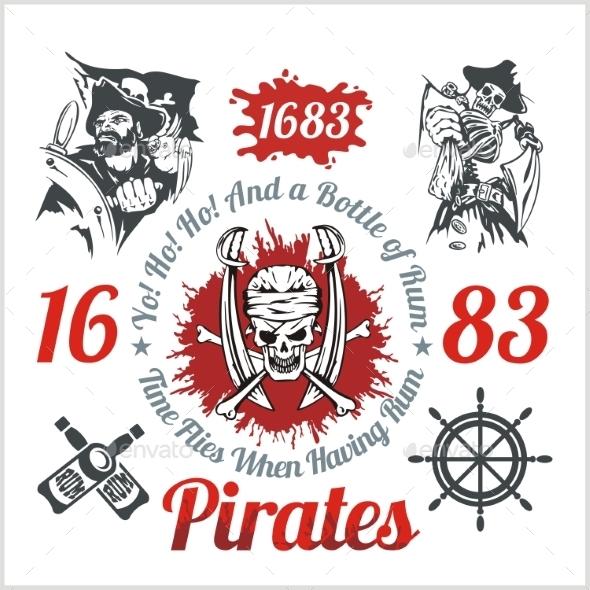 Pirate Themed Design Elements - Decorative Symbols Decorative