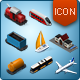 Isometric Map Icons - Trains, Ships and Airplane