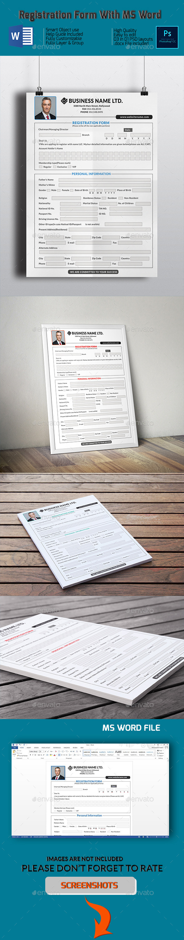 Registration Form With MS Word - Miscellaneous Print Templates
