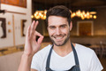 Handsome waiter smiling at camera at the cafe - PhotoDune Item for Sale