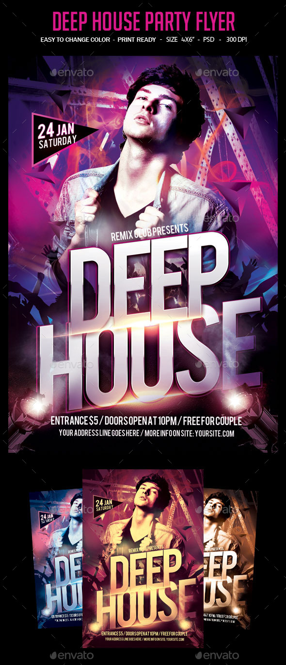 Deep House Party Flyer - Clubs & Parties Events