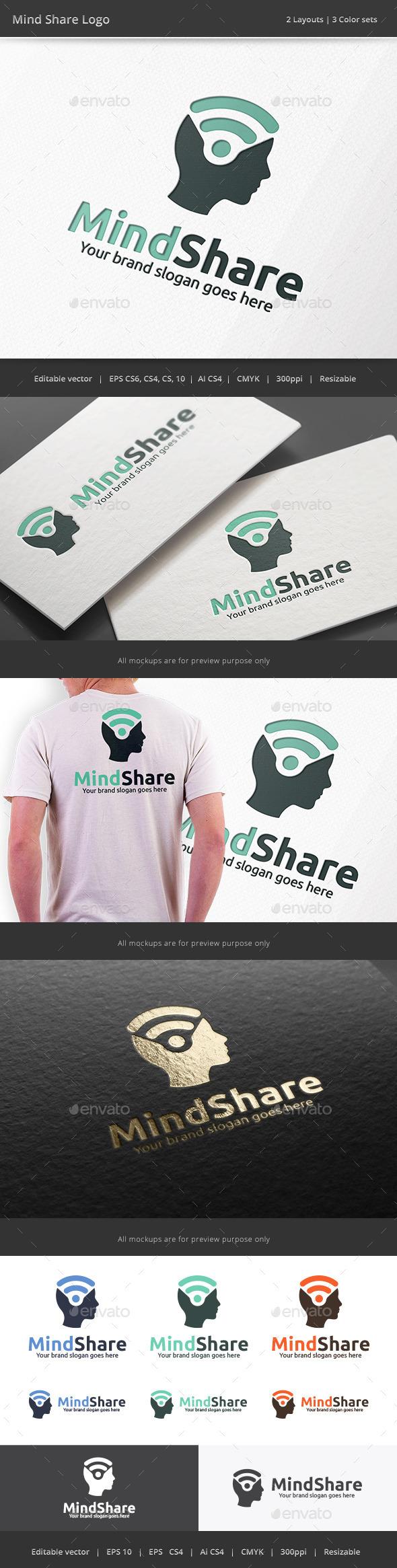 Mind Share Head Logo - Vector Abstract