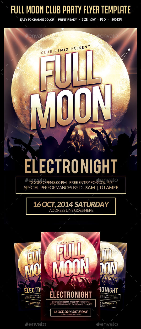 Full Moon Club Party Flyer Template - Clubs & Parties Events