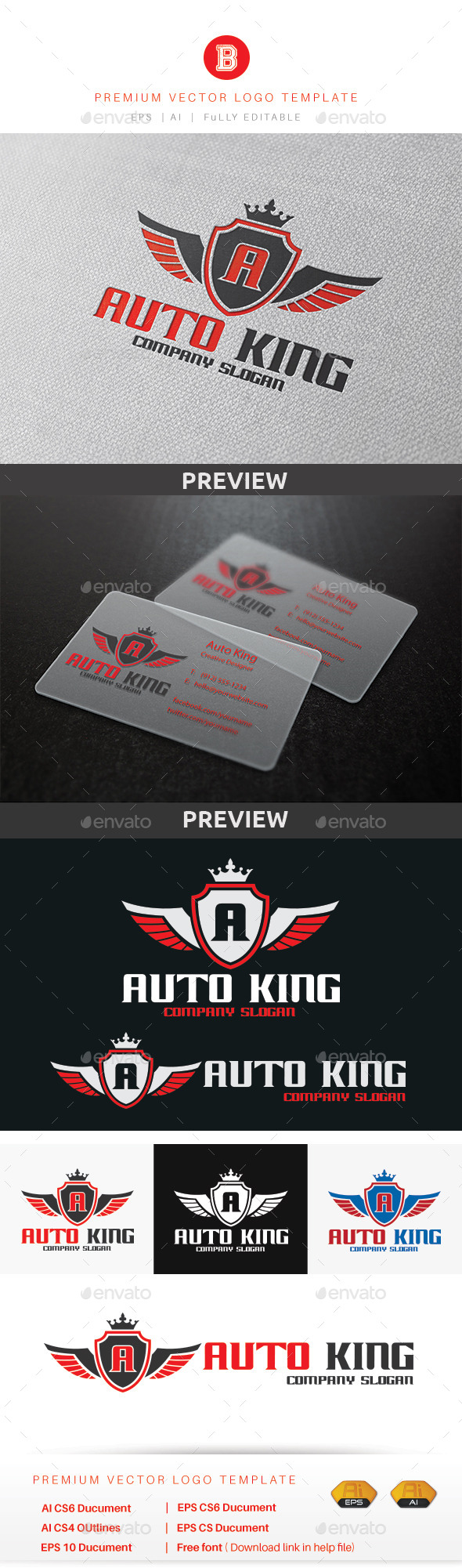 Auto King Logo - Crests Logo Templates