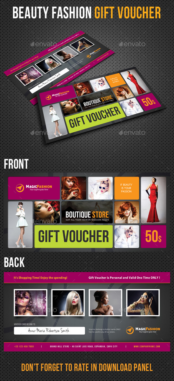 Beauty Fashion Gift Voucher V32 - Cards & Invites Print Templates