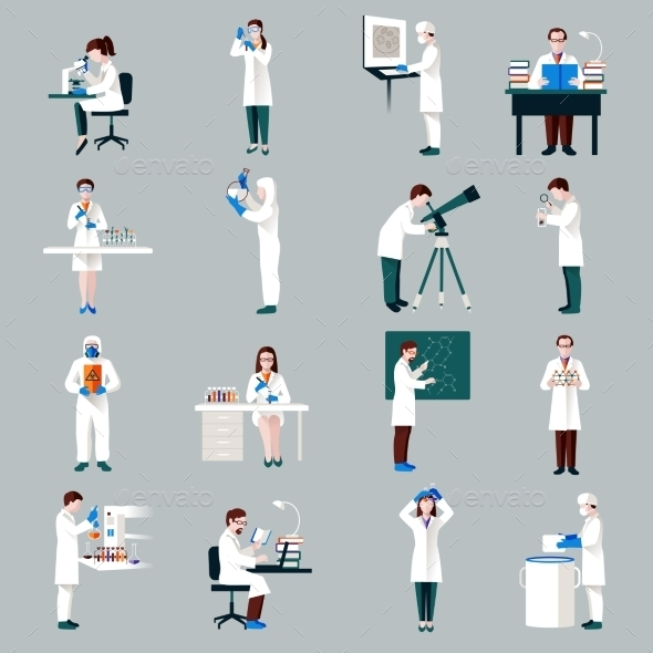Scientists Characters Set - People Characters